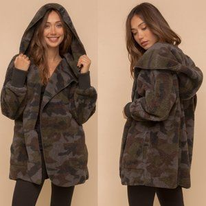 Faux Fur Sherpa Hoodie Jacket Coat Cardigan Camo